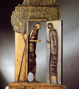 L'Annunciazione,<br>legno policromo,<br>Giovanni Conservo